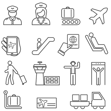 Airport and Aviation Line Icon Set for Web