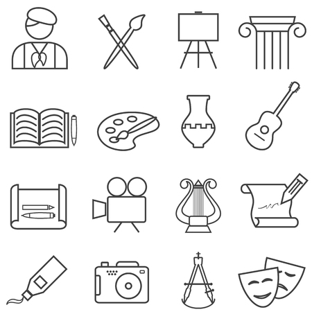 Fine arts, painting, music web line icon set