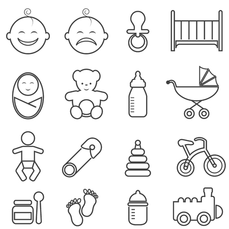 Baby, infant, newborn and birth line icon set Ilustração