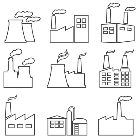 Industrial buildings, nuclear plants, factories line web icon set