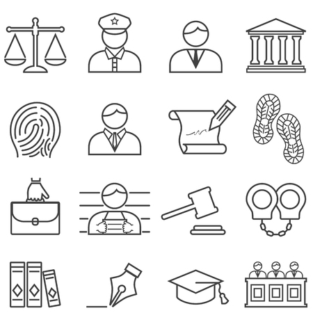 Justice, law, lawyer, judge, trial and court line icon set