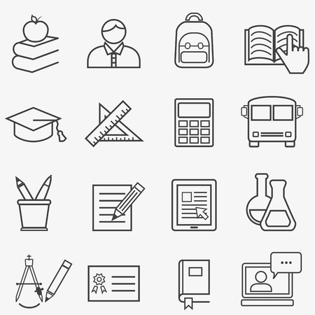 Back to school and education web line icons