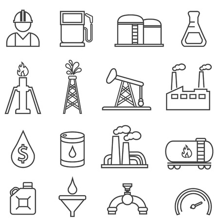 Oil, gas, petroleum, energy and drilling line icon set for web Stock Illustratie