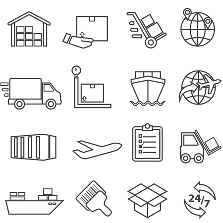 Shipping, cargo, delivery, distribution, freight and warehouse web line icon set Ilustração