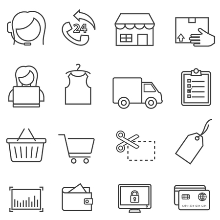 Shopping, retail, sale and online e-commerce black line icon set for web