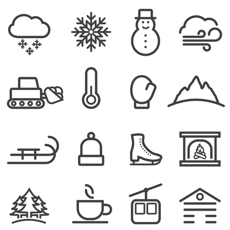 Winter, Christmas season and snow web line icon set