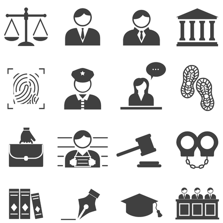 Justice, law, legal, court icon set