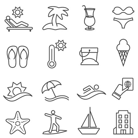 Beach, resort and summer line icon set Ilustração