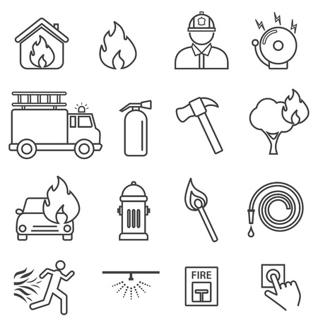 Fire, flame, safety line icon set Illustration