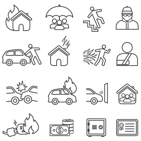 Car and home insurance line icon set Ilustração