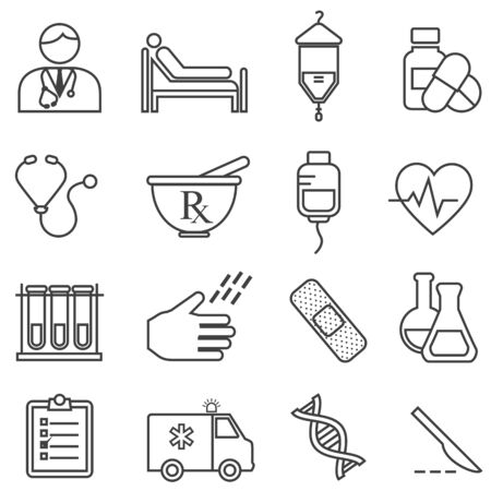 Medical, health, healthcare line icon set for web