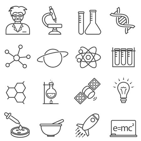 Chimie, biologie, jeu d'icônes de ligne scientifique