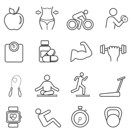 Fitness, diet and healthy lifestyle line icon set