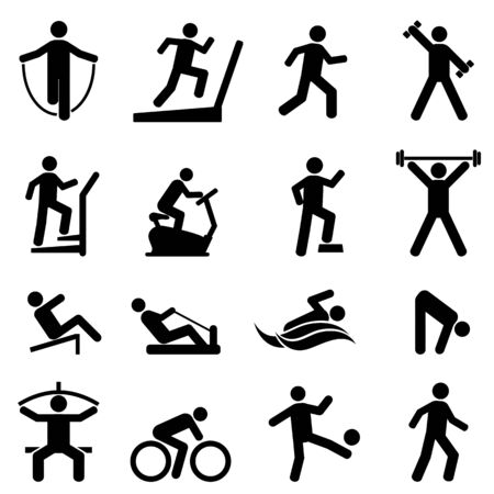 Exercise, fitness, gym and healthy living icon set