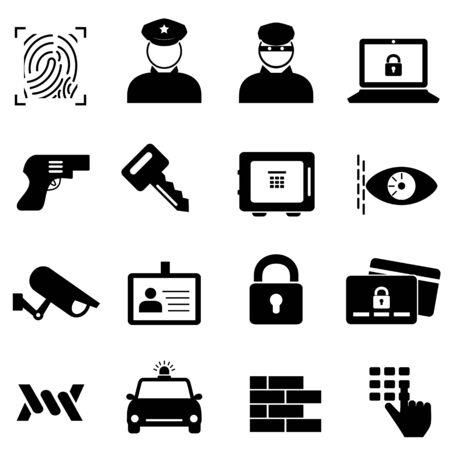 Set di icone di sicurezza, sicurezza e criminalità