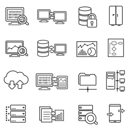 Big data, data analysis, cloud computing and data security web line icon set Ilustração