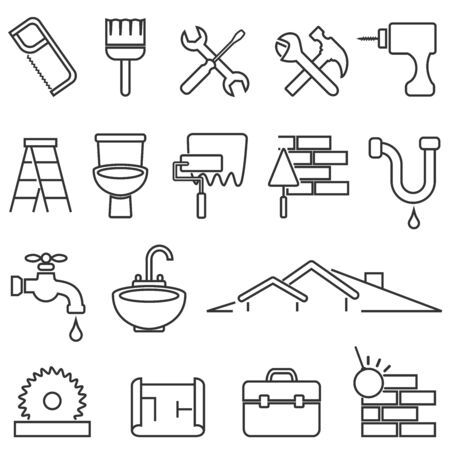 Home improvement, renovation and remodeling web line icon set Ilustração