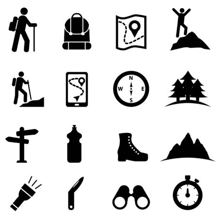 Hiking, recreation and leisure web icon set