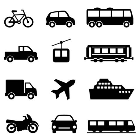 Public, land, air and sea transportation web icon set Ilustração