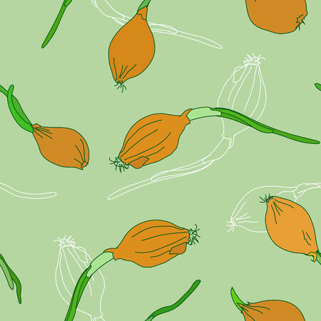 the sprouting: Seamless pattern with golden onion sprouting on a white background  Vector illustration  Illustration