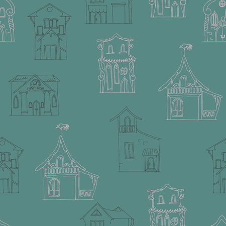Seamless pattern with hand-drawn houses of different styles on a dark brown background  Vector illustration  Vector
