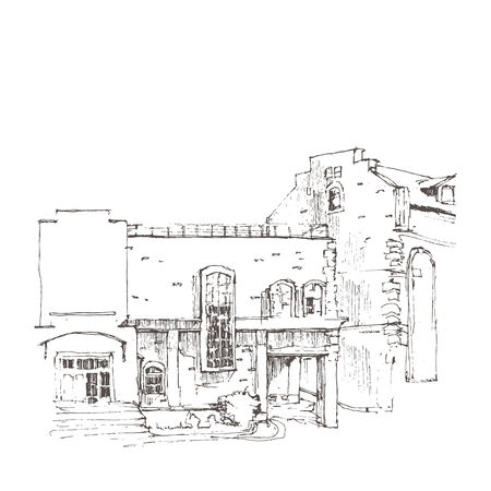 building sketch: Hand sketch of an old building