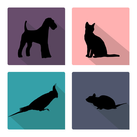 pets icon: Icon set with silhouettes of pets  Illustration