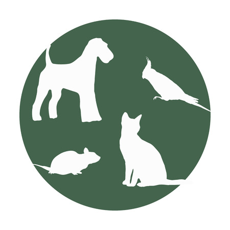 Silhouettes of of pets in a round frame  Illustration