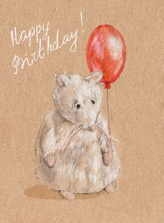 drow: Greeting card on his birthday, a nice white mouse with bright red balloon, illustration.