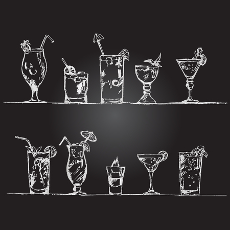 abstract doodle: Vector set of cocktail glasses in the style of chalk on a blackboard. Illustration.