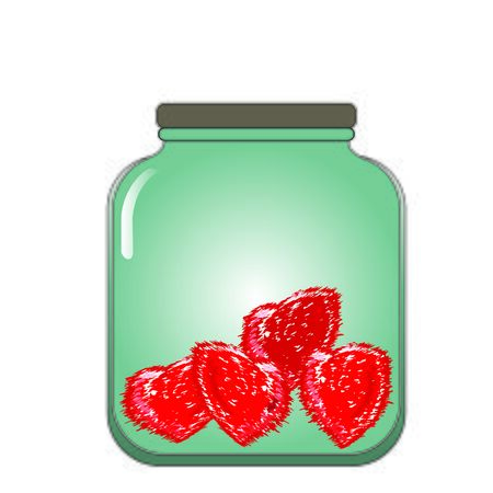 stored: prickly hearts stored in a glass jar, vector illusstration