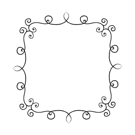curls: Hand drawn frame with curls. Design elements