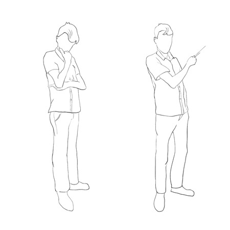 brooding: Two human figures, brooding and lead the presentation in the outline style.