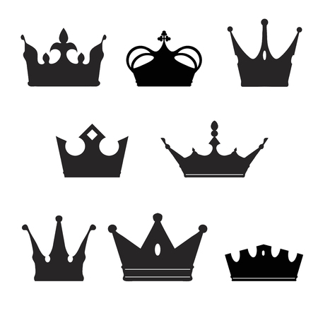 rown: rown collection silhouette. Heraldic elements set