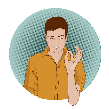 Guy showing approving gesture with his hands. Pop art retro style vector illustration. Comic books imitation Illustration