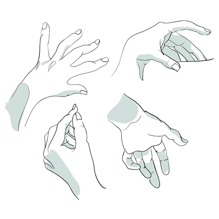 Set of sketches of hands in different positions. Vector illustration.