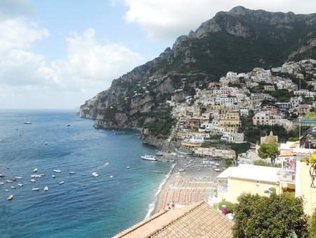 Side view of the beautiful town of Positano