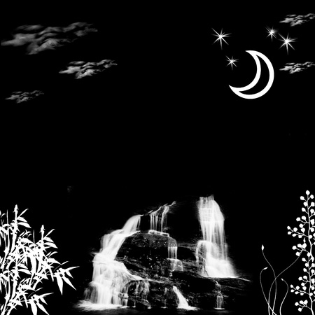 night landscape with waterfall