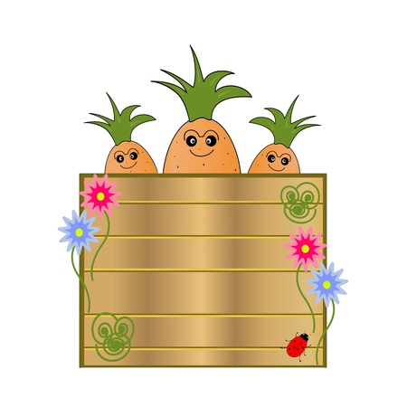 nature cartel with cartoon carrots Vector