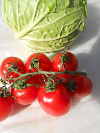 cherry tomatoes: cabbage with cherry tomatoes           Stock Photo