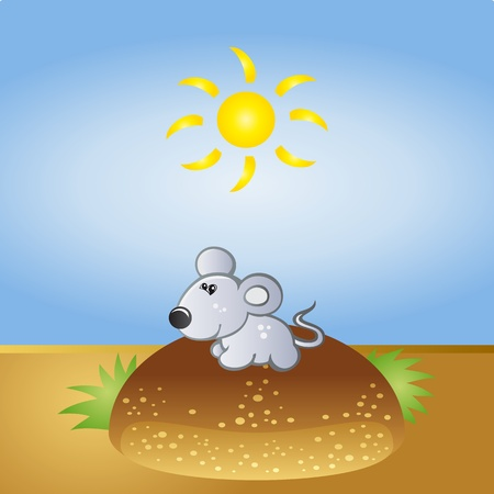 Happy little mouse in the nature Vector