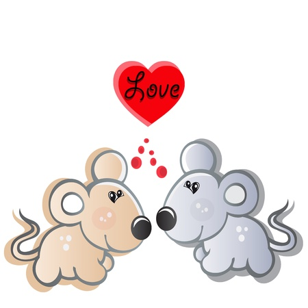 pair of small mouses in love Vector