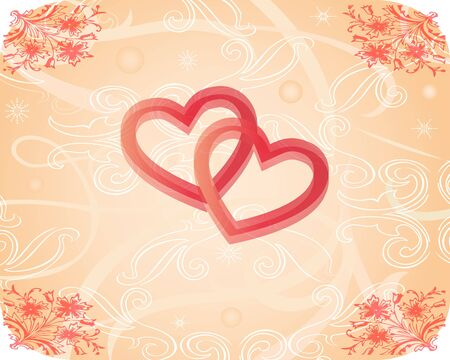 church flower: romantic texture with hearts Illustration