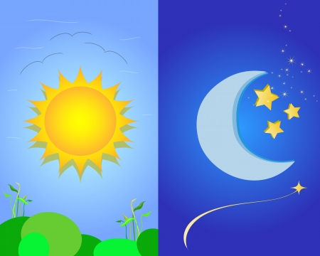 night and day: sun and  moon Illustration