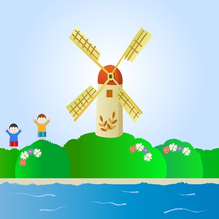fantastic landscape with windmill and children Stock Vector - 13896280