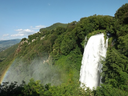 terni: marmore waterfall with rainbow Stock Photo