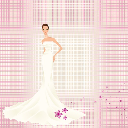 vintage background with bride Illustration