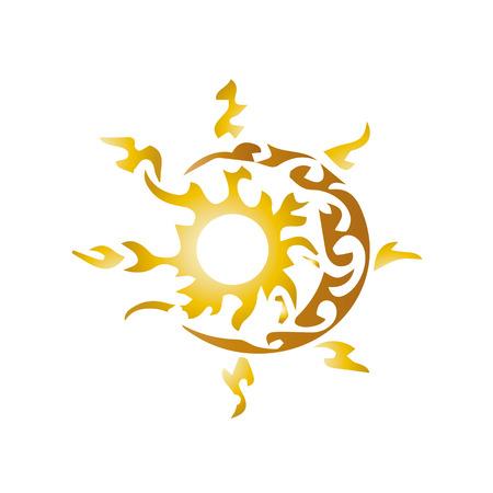 sun moon: artistic sun and moon Illustration