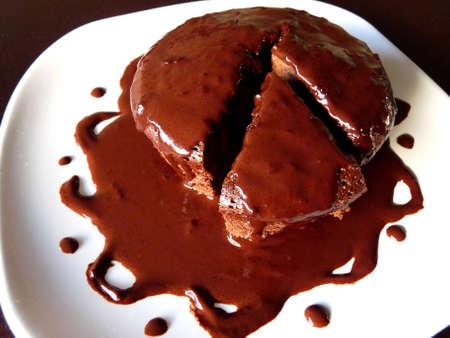 Coated chocolate cake Stock Photo