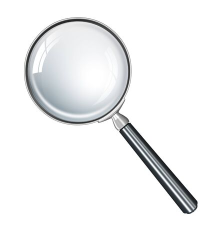scrutiny: Magnifying glass realistic  Stock Photo